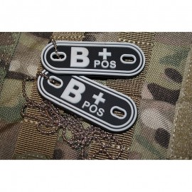 JTG DOG TAGS BLOODTYPE B POS. GLOW IN THE DARK
