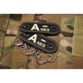 JTG DOG TAGS BLOODTYPE A NEG. GLOW IN THE DARK