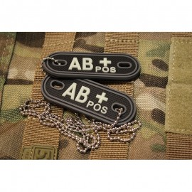 JTG DOG TAGS BLOODTYPE AB POS. GLOW IN THE DARK
