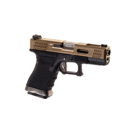 WE G19 Custom Metal Version GBB GOLD SLIDE BLACK BODY