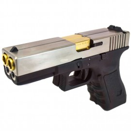 WE G17 Double Barrel Custom Silver/Gold Version