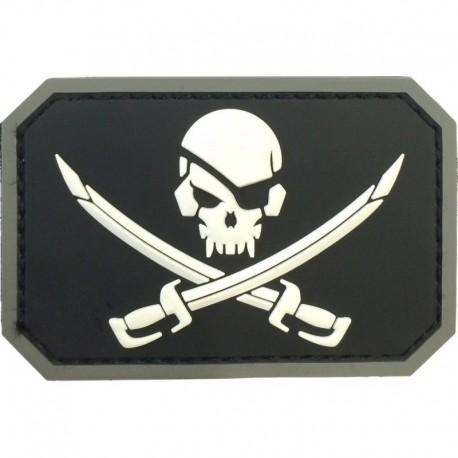 Pirate Skull Rubber Patch Black