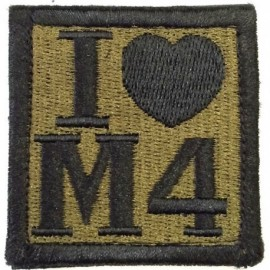 I Love M4 Embroidery Patch OD Green