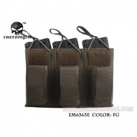 EMERSON 5.56 and Pistol Triple Open Top Magazine Pouch RG