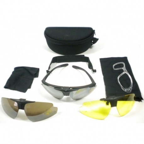 JS Tactical Multilenses eyewear with internal mount BLACK