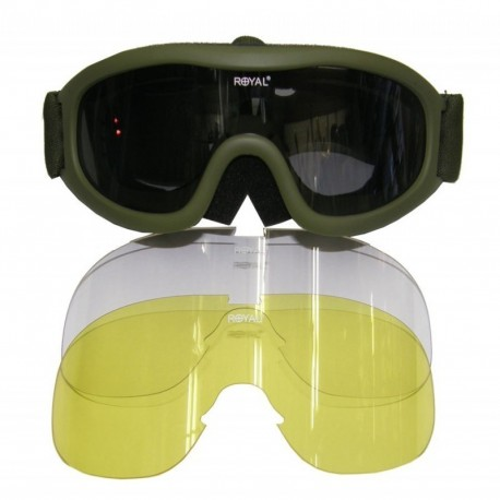 Royal goggle antifog 3 lenses OD Green