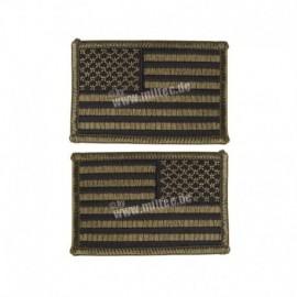Mil-Tec Pair  US Flag Patch OD Green